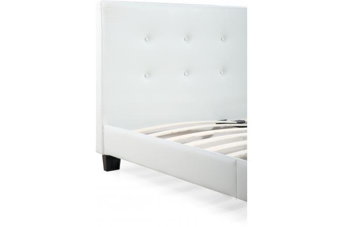 Lit capitonn avec sommier blanc 160x200 elyne design sur sofactory - Lit capitonne blanc 160x200 ...