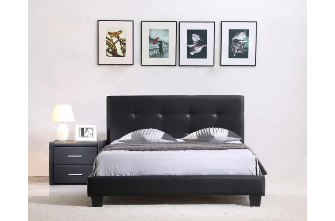 lit capitonn avec sommier noir 140x190 elyne design sur. Black Bedroom Furniture Sets. Home Design Ideas