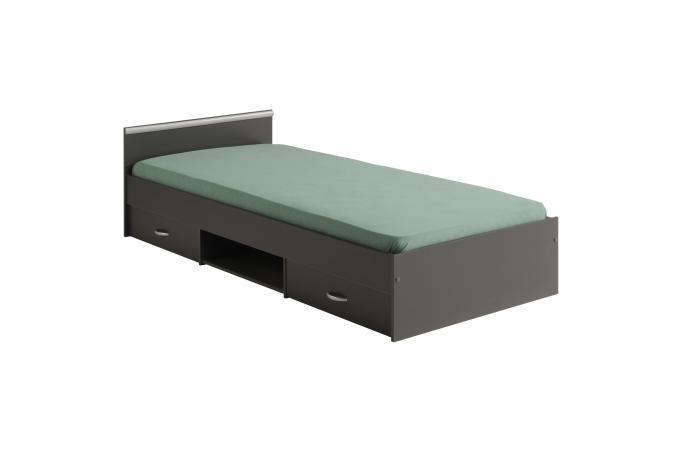 lit avec tiroir 90x200 gris alpha design sur sofactory. Black Bedroom Furniture Sets. Home Design Ideas