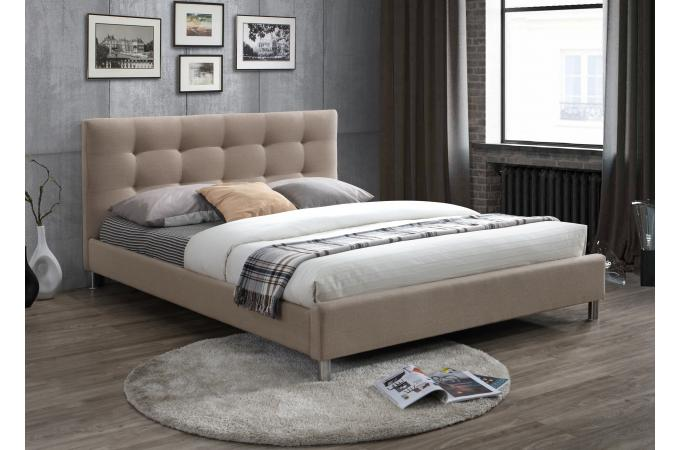 lit beige 160 en tissu avec t te de lit capitonn e tulius design sur sofactory. Black Bedroom Furniture Sets. Home Design Ideas