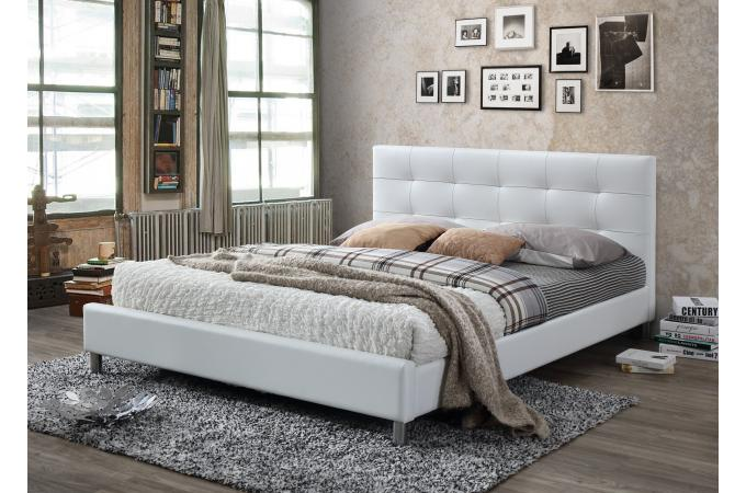 lit blanc avec t te de lit capitonn e 160 tulius design sur sofactory. Black Bedroom Furniture Sets. Home Design Ideas