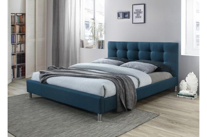 lit bleu 160 en tissu avec t te de lit capitonn e tulius. Black Bedroom Furniture Sets. Home Design Ideas