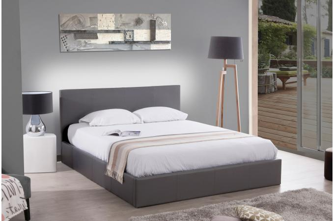 lit coffre 140x190 gris mona design sur sofactory. Black Bedroom Furniture Sets. Home Design Ideas