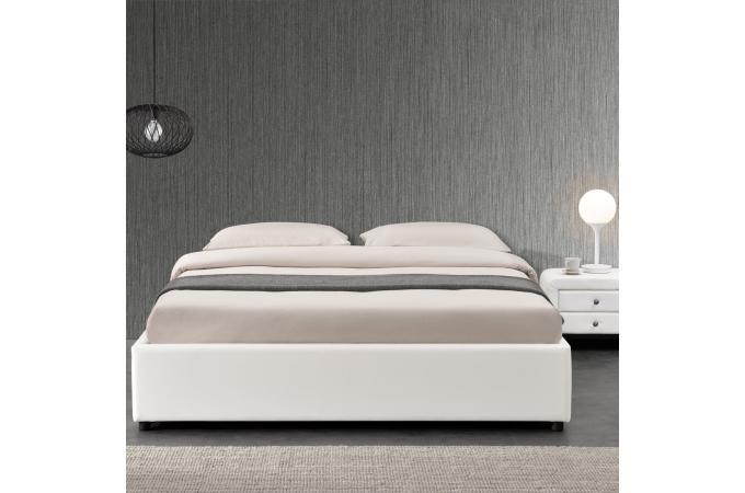 Lit coffre 160x200 blanc freud design sur sofactory - Lit coffre 160x200 blanc ...
