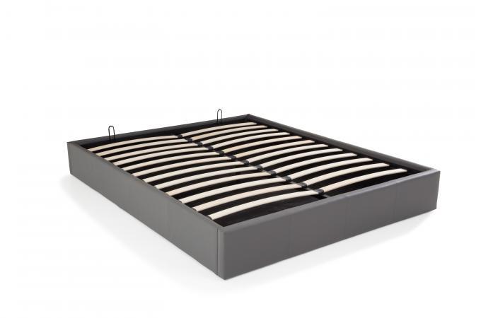 lit coffre 160x200 gris mapala design sur sofactory. Black Bedroom Furniture Sets. Home Design Ideas