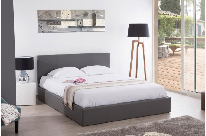 lit coffre 160x200 gris mona design sur sofactory. Black Bedroom Furniture Sets. Home Design Ideas