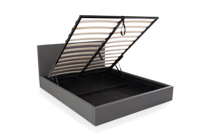 lit coffre 180x200 gris mona design sur sofactory. Black Bedroom Furniture Sets. Home Design Ideas