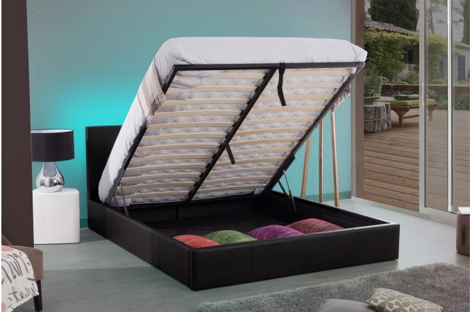lit coffre 180x200 noir jolia design sur sofactory. Black Bedroom Furniture Sets. Home Design Ideas