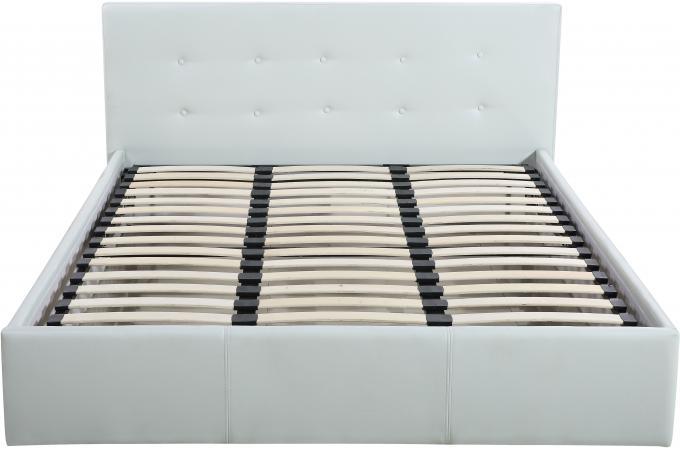 lit coffre capitonn avec sommier blanc 160x200 elyni. Black Bedroom Furniture Sets. Home Design Ideas
