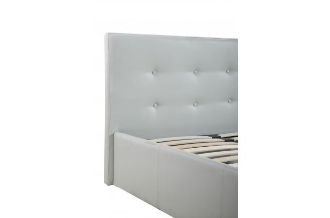 Lit coffre capitonn avec sommier blanc 160x200 elyni design sur sofactory - Lit coffre 160x200 blanc ...
