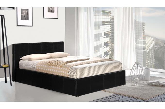 Lit coffre en 160x200cm avec sommier pvc noir pratico design sur sofactory - Sommier en 2 parties 160 ...