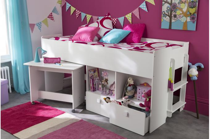 lit combin pour enfant 90x200cm avec bureau et rangement blanc zack design sur sofactory. Black Bedroom Furniture Sets. Home Design Ideas