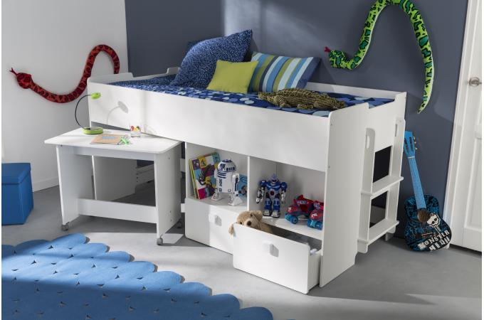 lit combin pour enfant 90x200cm avec bureau et rangement. Black Bedroom Furniture Sets. Home Design Ideas