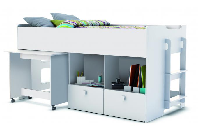Lit combiné pour enfant cm avec bureau et rangement blanc