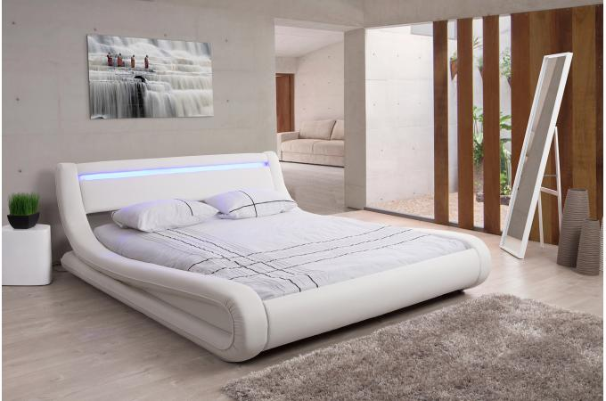 Lit Design Led 140x190 Blanc Fereol Design Sur Sofactory