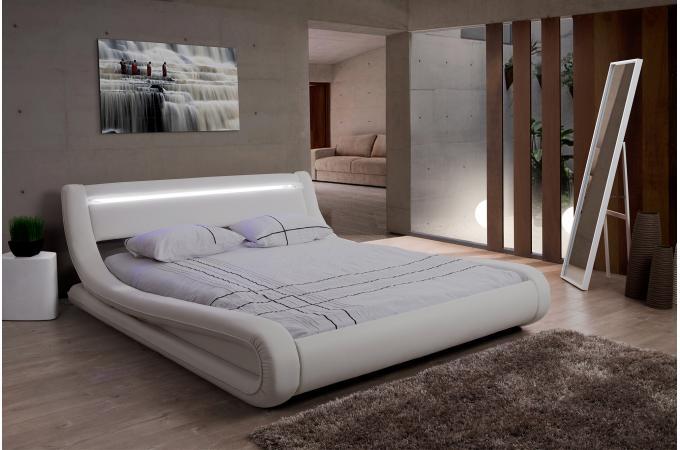 Lit Design LED X Blanc FEREOL Design Sur SoFactory - Lit design led 140x190