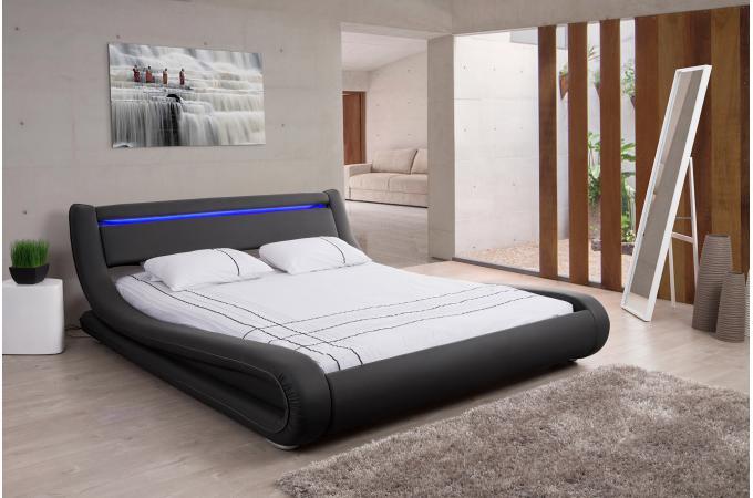 Lit Design Led 140x190 Noir Fereol Design Sur Sofactory
