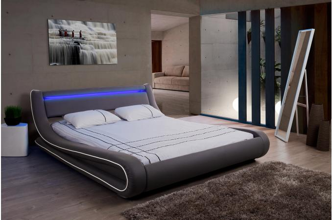 lit design led 180x200 gris blanc fereol design sur sofactory. Black Bedroom Furniture Sets. Home Design Ideas
