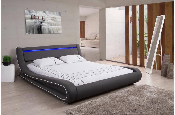 Lit Design LED X GrisBlanc FEREOL Design Sur SoFactory - Lit cuir 180x200
