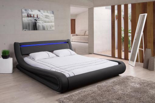 lit design led 180x200 noir fereol design sur sofactory. Black Bedroom Furniture Sets. Home Design Ideas