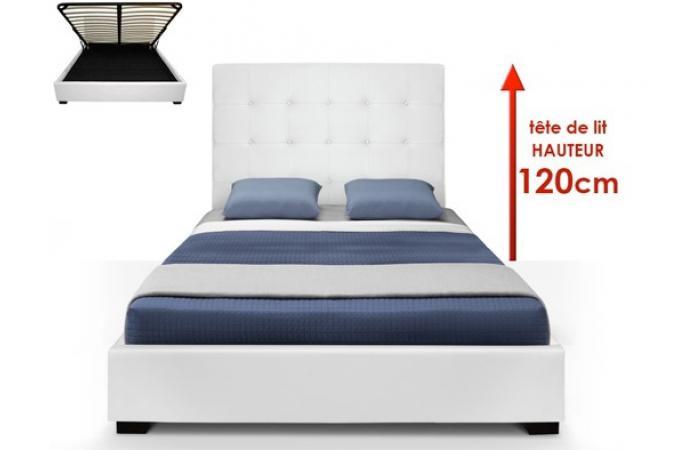 lit coffre blanc sommier relevable 160x200 nani design sur. Black Bedroom Furniture Sets. Home Design Ideas
