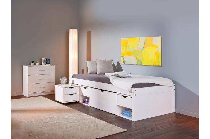 Lit En Bois Avec Espaces De Rangement Blanc X MOMO Design Sur - Lit avec rangement 90x200