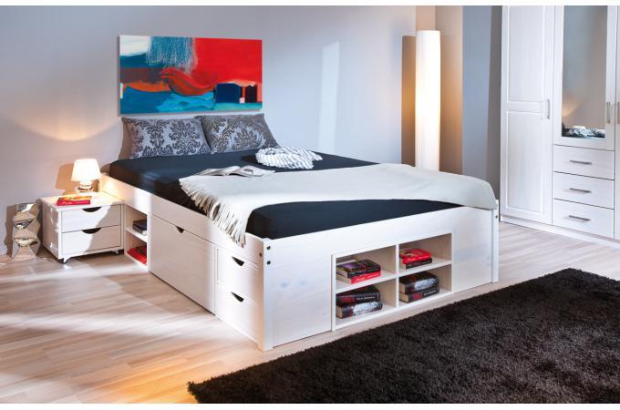 lit en bois avec espaces de rangement mobiles blanc 140x190 momo design sur sofactory. Black Bedroom Furniture Sets. Home Design Ideas