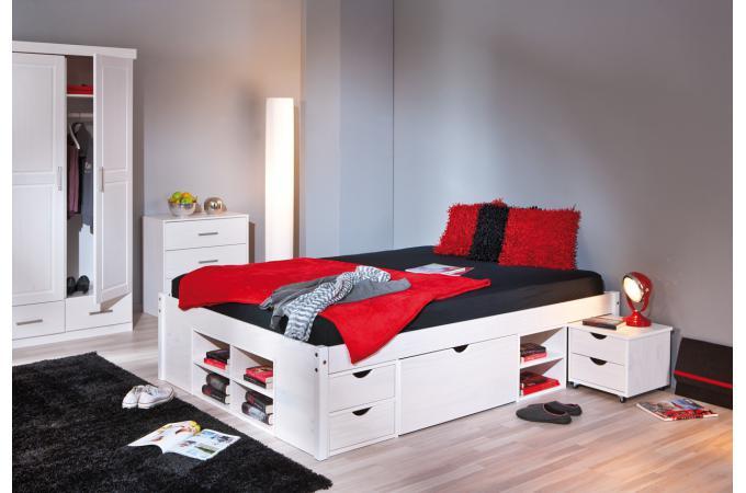 lit en bois avec espaces de rangement mobiles blanc. Black Bedroom Furniture Sets. Home Design Ideas