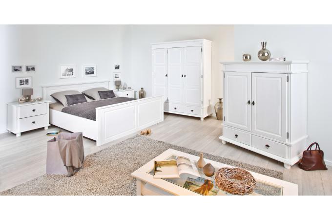 lit en bois blanc 140x200 paco design sur sofactory. Black Bedroom Furniture Sets. Home Design Ideas