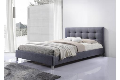 lit gris tissu avec t te de lit capitonn 160 tulius design sur sofactory. Black Bedroom Furniture Sets. Home Design Ideas