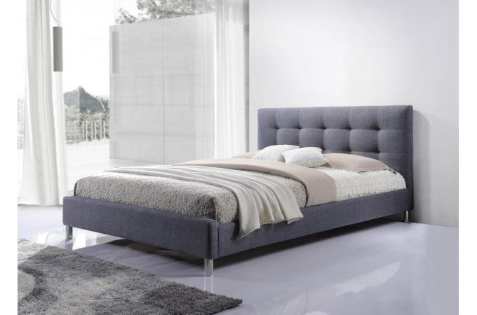lit gris tissu avec t te de lit capitonn 160 tulius. Black Bedroom Furniture Sets. Home Design Ideas