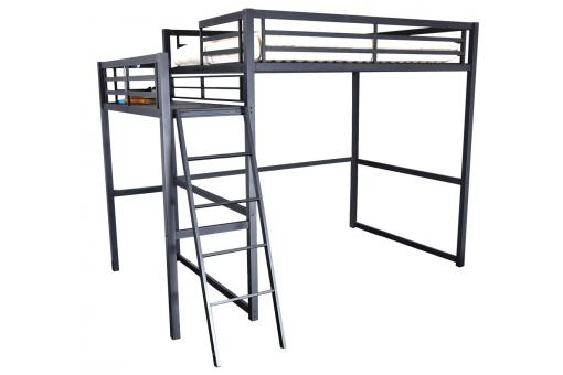 lit mezzanine 140x190 cm avec plateforme noir design pas. Black Bedroom Furniture Sets. Home Design Ideas