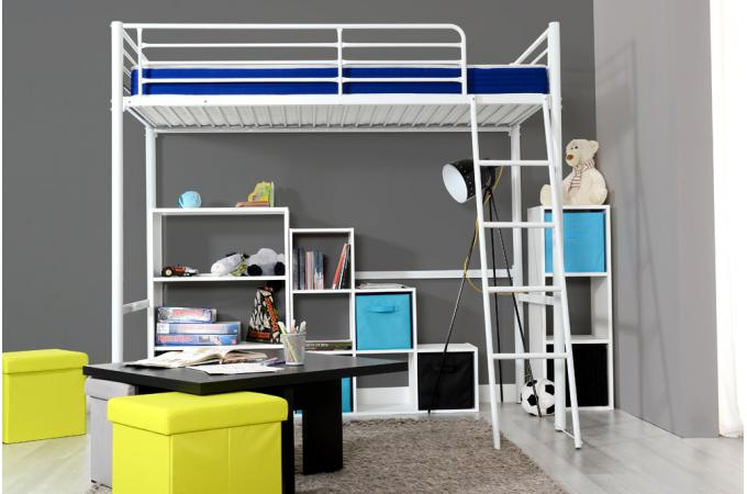 lit mezzanine 90x190 cm blanc alma design pas cher sur. Black Bedroom Furniture Sets. Home Design Ideas