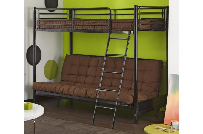 lit mezzanine 90 avec clic clac noir l syt me mezzo design sur sofactory. Black Bedroom Furniture Sets. Home Design Ideas