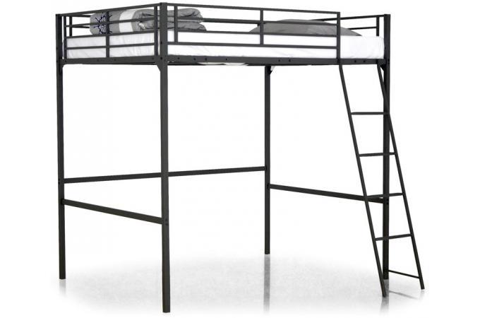 Lit mezzanine noir 140x190 kala design en direct de l 39 usine sur sofactory - Lit mezzanine 140 x 190 ...