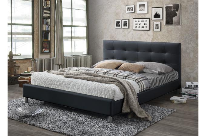 lit noir avec t te de lit capitonn e 160 tulius design sur sofactory. Black Bedroom Furniture Sets. Home Design Ideas