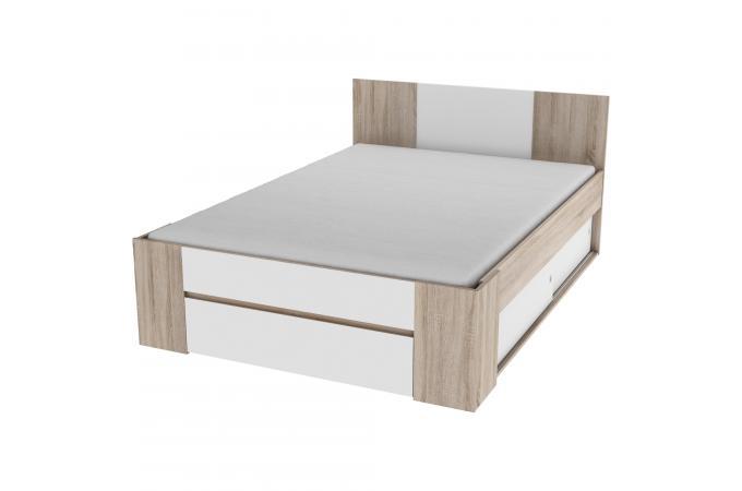 lit rangement blanc bois 140x200 goliad design sur sofactory. Black Bedroom Furniture Sets. Home Design Ideas