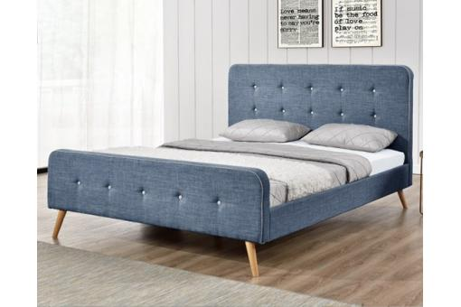 lit scandinave 140x190 bleu avec t te de lit capitonn e desir design sur sofactory. Black Bedroom Furniture Sets. Home Design Ideas