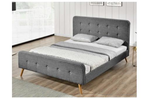 lit scandinave 160x200 gris avec t te de lit capitonn e desir design sur sofactory. Black Bedroom Furniture Sets. Home Design Ideas