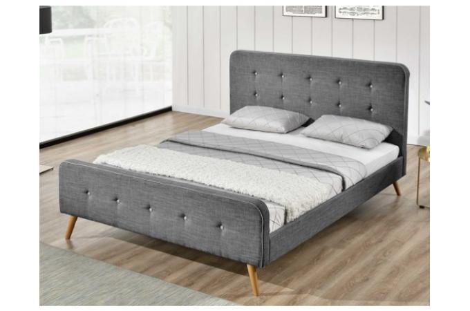 lit scandinave 160x200 gris avec t te de lit capitonn e. Black Bedroom Furniture Sets. Home Design Ideas