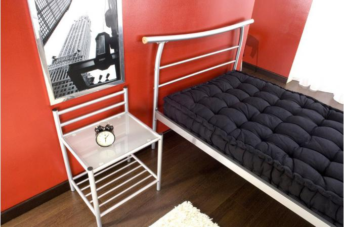 lit 90 x 190 avec sommier argent jules design sur sofactory. Black Bedroom Furniture Sets. Home Design Ideas