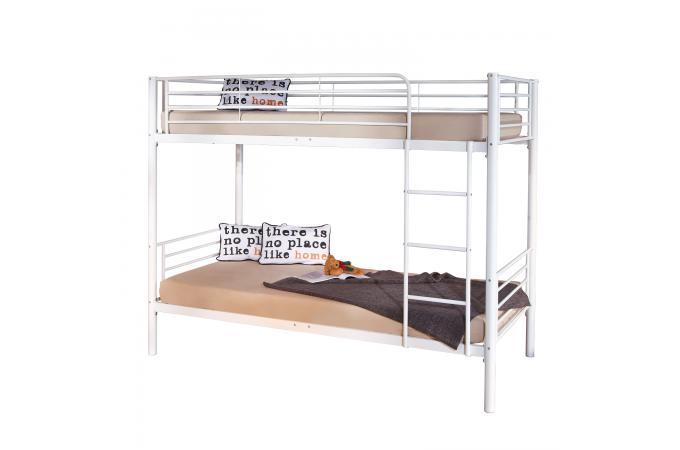 Lits superpos s en m tal blanc 90x200 rone design sur sofactory - Lit superpose metal blanc ...