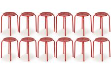 Lot de 12 Tabourets Empilables Métal Rouges VAINA SoFactory