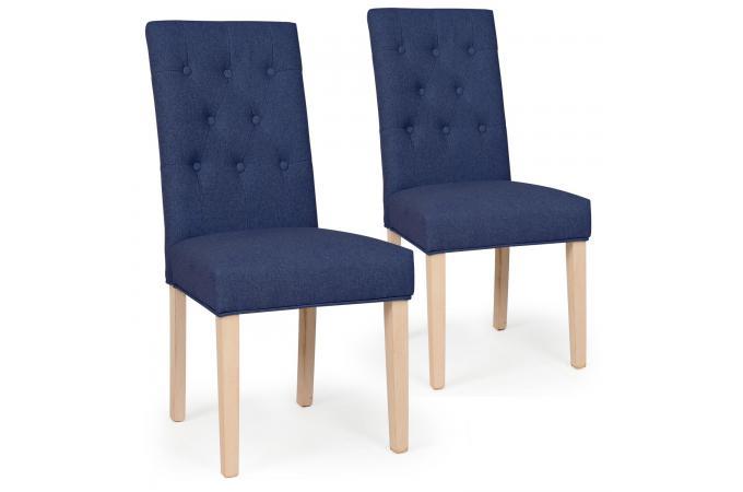 Lot De 2 Chaises Capitonnee Tissu Bleu Costa Design Sur