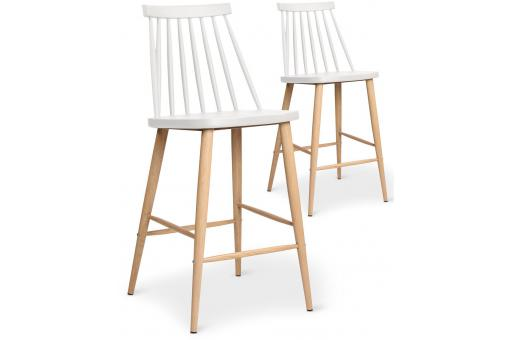 Lot de 2 chaises de bar scandinaves blanches POLTA