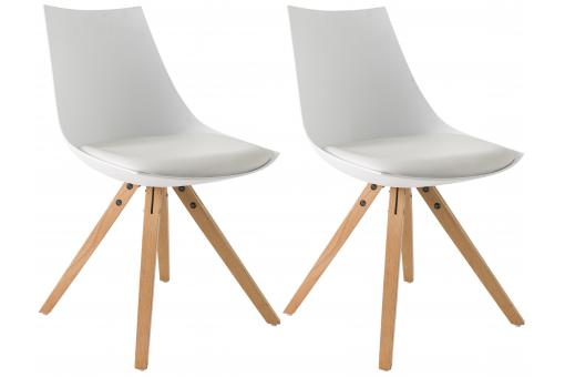 Lot de 2 Chaises Scandinaves Blanches MILAN
