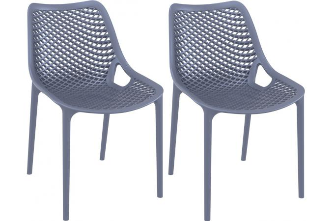 Lot de 2 Chaises design  anthracite MENAZ