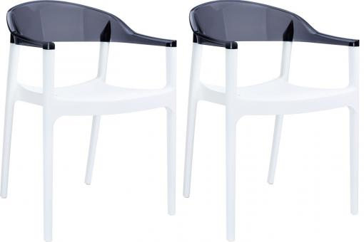 Lot de 2 Chaises design Blanches Bicolore Transparentes JAVIER SoFactory