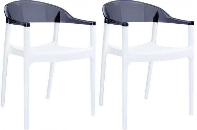 Lot de 2 Chaises design  Blanches Bicolore Transparentes JAVIER