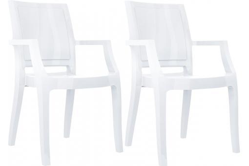 Lot de 2 chaises design blanches laqu es ally design en direct de l 39 usine - Chaises laquees blanches ...